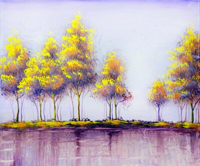 Canvas print Oil painting landscape, abstract colorful gold trees