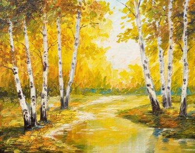 Canvas print Oil painting landscape - autumn forest near the river, orange leaves