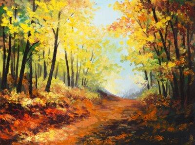 Canvas print Oil painting landscape - colorful autumn forest