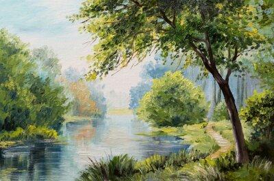 Canvas print Oil painting landscape - colorful forest