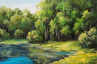 Canvas print Oil painting landscape - lake in the forest, summer day