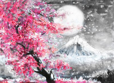 Canvas print oil painting landscape with sakura and mountain, hand drawn illustration, Japan
