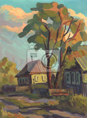 Canvas print Oil painting. Landscape with village homes