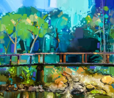 Canvas print Oil painting landscape with wooden bridge over creek in forest. Hand painted Colorful summer nature forest with yellow and green- blue color