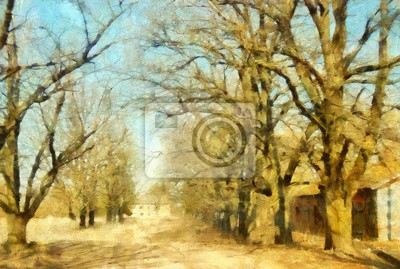 Oil painting nature landscape contemporary stock wall art print for canvas or paper, or stationery. Hand drawing by brush original nature artwork.  Village scene in spring or summer. Modern poster.