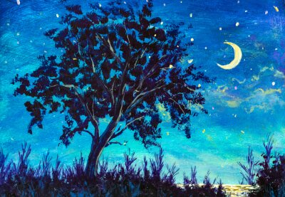 Oil painting night landscape - Starry Night sky with moon and Lonely Tree, grass and sea water
