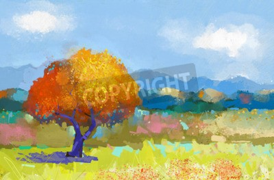 Oil painting of a colorful rural landscape. Oil painting of fields of flowers on canvas.Country landscape.Modern Impressionism