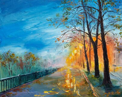 Canvas print Oil painting of evening autumn street