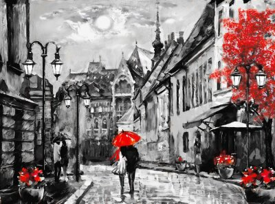 Canvas print oil painting on canvas european city. Hungary. street view of Budapest. Artwork. people under a red umbrella. Tree. Nigrht and moon.