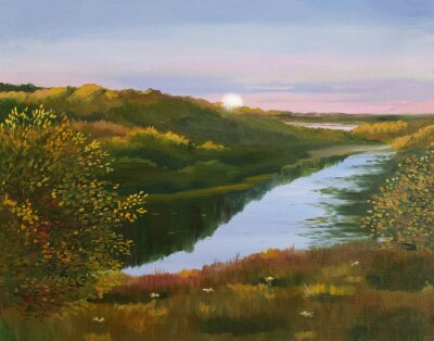 Oil painting on canvas. Evening landscape with the image of the river and trees.