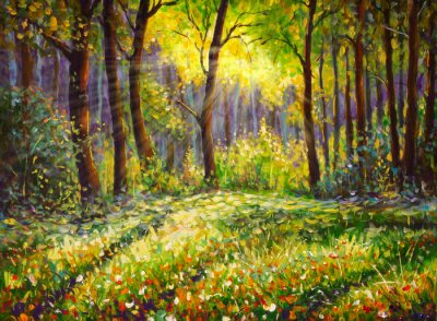 Canvas print Oil painting on canvas modern impressionism Sunny forest landscape
