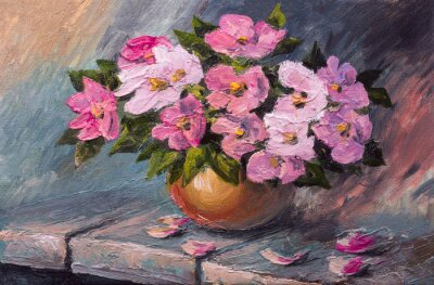 Canvas print Oil painting on canvas - still life flowers on the table
