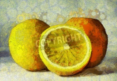 Canvas print Oil painting oranges fruits on white