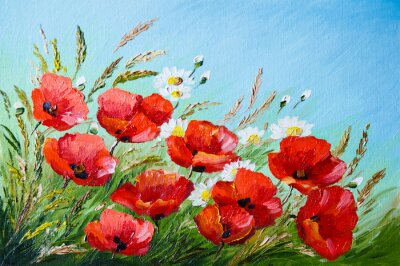 Canvas print oil painting - poppies in the field