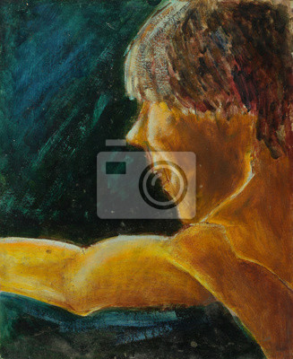 Oil painting portrait with male portrait in bright colors On Canvas