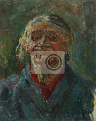 Oil painting portrait with Portrait of the old grandmother in pastel tones On Canvas