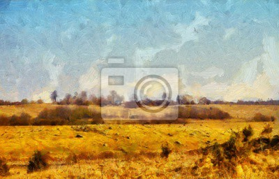 Oil painting pretty landscape scene in stock. Original large size wall art print in modern style drawing on canvas. Contemporary acrylic artwork. Nature motifs. Spring or summer season.