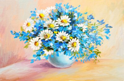 Canvas print oil painting still life - bouquet of flowers on the table