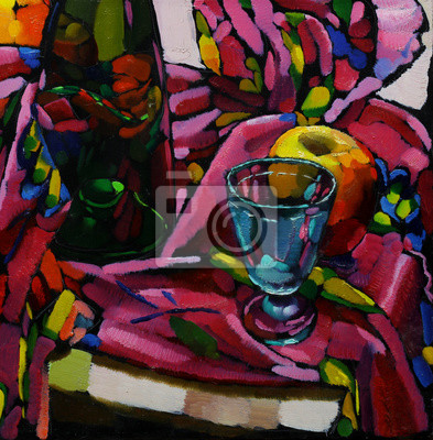 Canvas print Oil painting. Still life with a bottle, a glass, an apple on a colored tissue