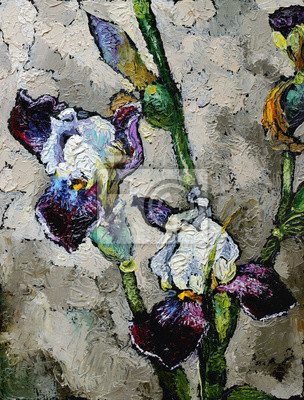 Canvas print Oil painting still life with  blue violet  irises flowers On  Canvas with  texture in in the grayscale