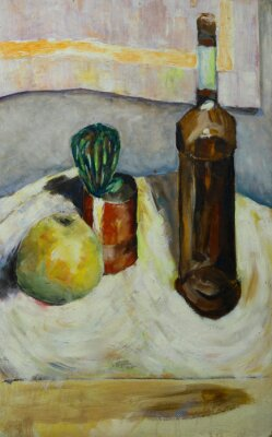 Canvas print Oil painting still life with  cactus apple bottle of alcohol in impressionist style On Canvas
