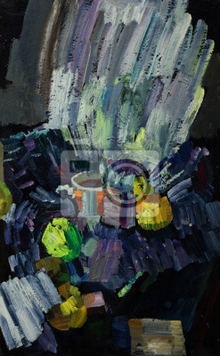 Oil painting still life with  cup of coffee and apples in bright colors On Canvas