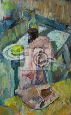 Canvas print Oil painting still life with  fabric on a chair with a bottle of alcohol and lemon in a plate On Canvas