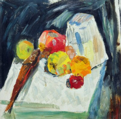 Oil painting. Still life with fish and apples on the table