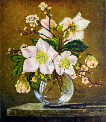 Oil painting still life with flowers. Oil on canvas. Beautiful. Free copy painting Cecil Kennedy
