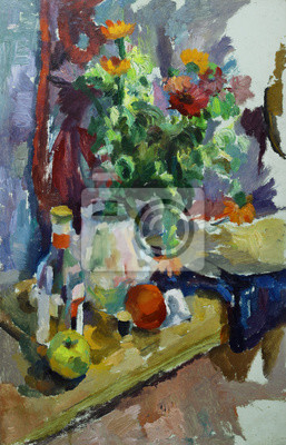 Canvas print Oil painting still life with  on the table flowers in a vase, a bottle of alcohol, apples, thread On Canvas