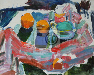 Oil painting still life with  peachs  and cloth in bright colorsOn Canvas