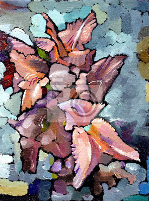 Oil painting still life with  pink  irises flowers On  Canvas with  texture in in the grayscale