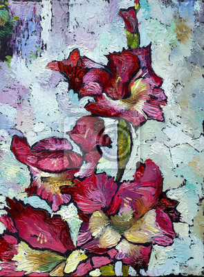 Oil painting still life with  purple  irises flowers On  Canvas with  texture in in the grayscale