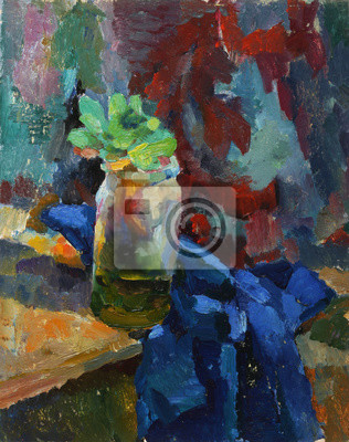 Canvas print Oil painting. Still life with vase and plants on fabric