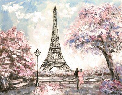Canvas print Oil Painting, Street View of Paris. Tender landscape, spring