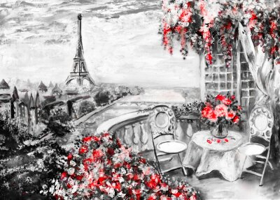 Oil Painting, summer cafe in Paris. gentle city landscape. Abstract flower. View from above balcony. Eiffel tower, France, wallpaper. modern art