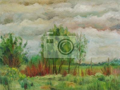 oil painting, summer cloud cloudy landscape