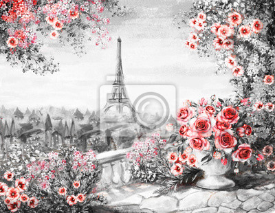 Oil Painting, summer in Paris. gentle city landscape. flower rose and leaf. View from above balcony. Eiffel tower, France, wallpaper. modern art. Black, white and red