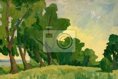 Canvas print Oil painting. Summer landscape