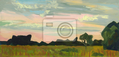 Canvas print Oil painting. Summer landscape