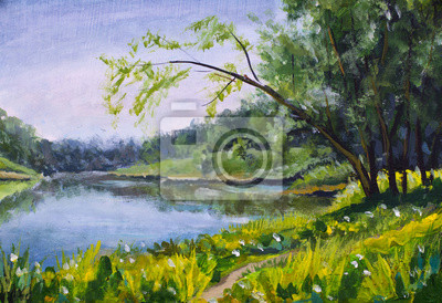 Oil Painting - summer landscape, blue river, sunny beach, green trees, rustic nature