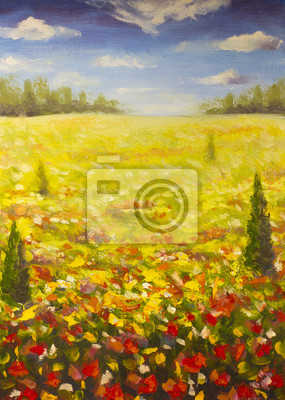 Oil painting summer landscape of a red ogange flower poppy field, blue sky clouds, forest background. Spring nature flowers red field. Modern art - impressionism, texture.