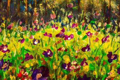 Oil painting summer landscape - purple field flowers in green grass impressionism modern art on canvas