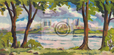 Canvas print Oil painting. Summer landscape. Trees on the river Bank. Panorama city