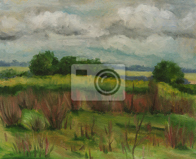 oil painting, summer landscape with clouds