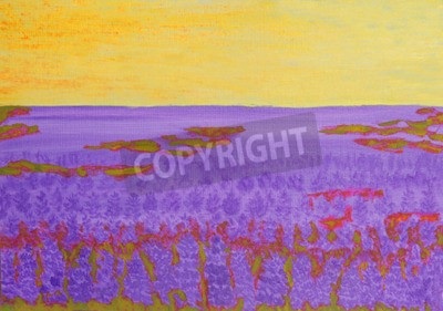 Oil painting, summer landscape with lupin meadow.