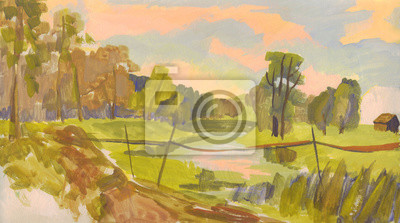 Canvas print Oil painting. The bridge over the river. Summer landscape with farm house and trees on the shore