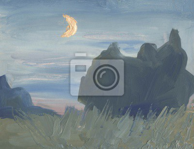 Canvas print Oil painting. The lunar landscape on a summer night