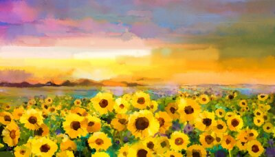 Canvas print Oil painting yellow- golden Sunflower, Daisy flowers in fields. Sunset meadow landscape with wildflower, hill and sky in orange, blue violet background. Hand Paint summer floral Impressionist style