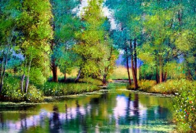 Canvas print Oil paintings landscape, autumn landscape with trees and lake
